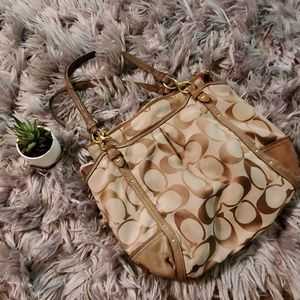 Coach brown and tan monogram signature handbag